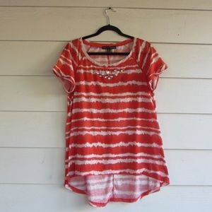 French Connection Orange Striped Tunic Top